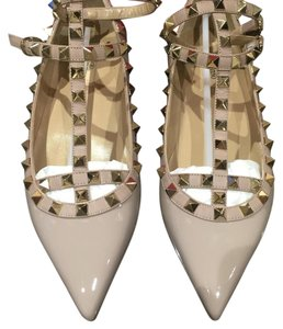 79ae6793906c Valentino Rockstud Nude Poudre Patent Leather Cage Ballet 40 Flats ...