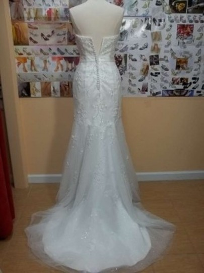 Impression Bridal Ivory Tulle/Satin/Lace 10175 Formal Wedding Dress Size 8 (M)