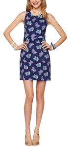 Lilly Pulitzer short dress navy with butterflies on Tradesy