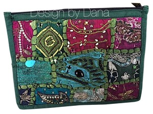 Design By Dana Turqouise Hand Made Pink/Turquoise/Green Clutch