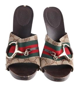 Gucci Chic Tan/green/red Mules