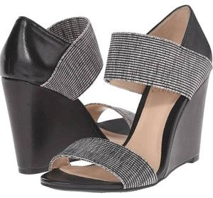 Vince Camuto Leather Black with Black/White Stripe Wedges
