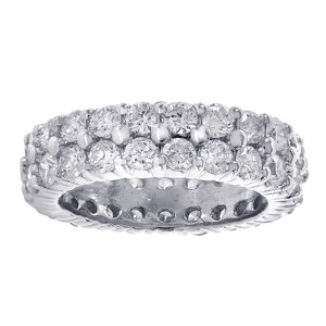 Avital & Co Jewelry 14k White Gold 2 Row 3.75 Tcw Round Brilliant Cut Diamond Eternity Wedding Band