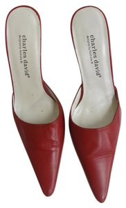 Charles David Leather Red Mules