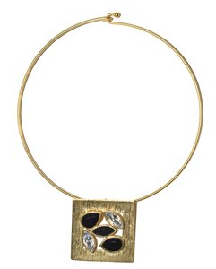 Other 24KT Gold Plated Pewter Jeweled Petals Hook & Closure Choker