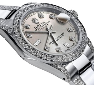 Rolex Women's 26mm s/s Oyster Perpetual Datejust Custom Diamond Silver Dial