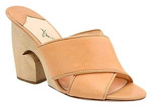 Isa Tapia Leather Crisscross Strap Nude Wedges