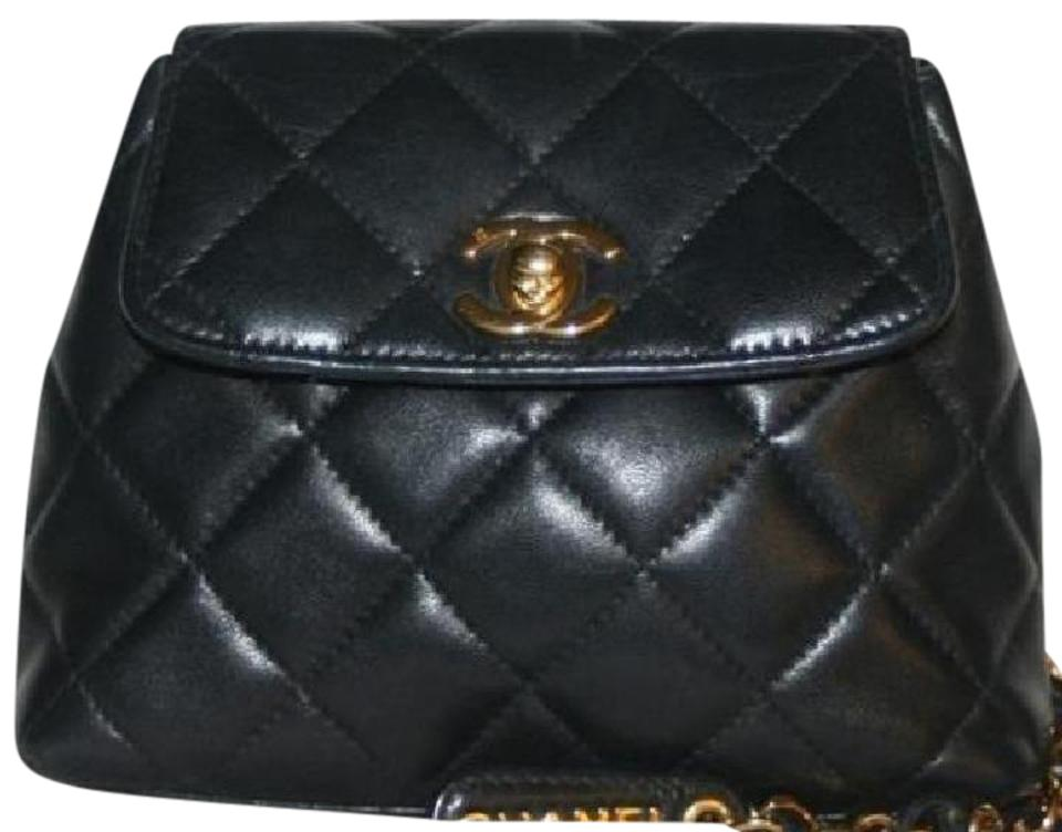 b68c816f18025b Chanel Classic Flap Waist Bum Fannypack Quilted Mini Woc Black Lambskin  Leather Cross Body Bag