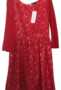 French Connection short dress Red lace with cream silk underlay on Tradesy