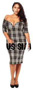 Black, White, Gold Maxi Dress by Other Stretchy Slimming Bodycon Plus Size Curvy
