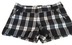 Alice + Olivia Mini/Short Shorts Deep brown and cream plaid