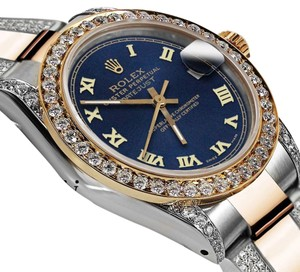 Rolex Women's 31m Oyster Perpetual Datejust Custom Diamonds Blue Color Roman