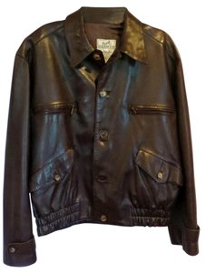 Herms Bomber Brown Lambskin Leather Jacket