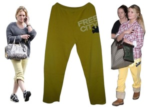 FREECITY Celebrity Jessica Simpson Boyfriend Pants Yellow