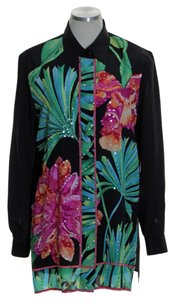 Diane Gilman Silk Long Sleeve Floral Sequin Button Down Shirt Black Green