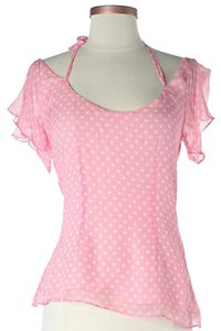 Cynthia Rowley Silk Polka Dot Top Pink