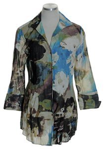 Lafayette 148 New York 3/4 Sleeve Watercolor Floral Button Down Shirt Multi-color