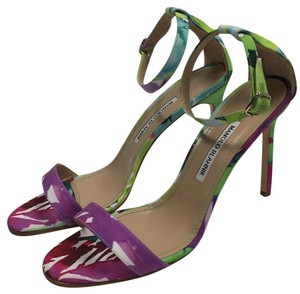 Manolo Blahnik Multi colored floral Sandals