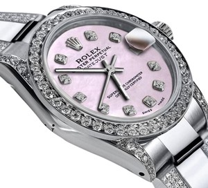 Rolex Women's 31mm s/s Oyster Perpetual Datejust Pink Custom Diamonds Dial