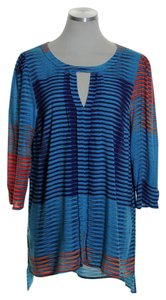 Plenty by Tracy Reese High-low 3/4 Sleeve Striped Top Blue