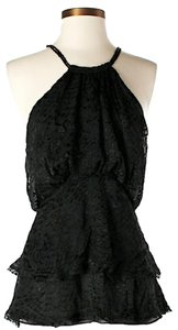 BCBGMAXAZRIA Silk Sleeveless Textured Top Black