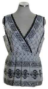 Sundance Sequin Cross Over Top White Black