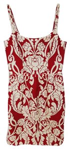 Ann Taylor short dress Red and Cream Linen Pencil on Tradesy