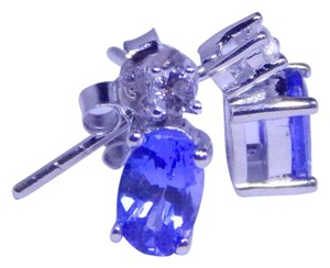 Other WELL-FORMED OVAL SHAPE TANZANITE EARRINGS IN HALO EARRING SETTING STERLING SILVER