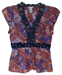 Anthropologie Odille Silk Peplum Casual Top Blue and Mauve