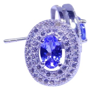 Other APPEALING OVAL SHAPE TANZANITE EARRINGS WHITE TOPAZ STONES AROUND MAIN STONE IN HALO EARRING SETTING STERLING SILVER