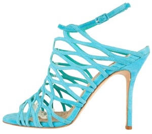 Manolo Blahnik Aqua Blue Sandals
