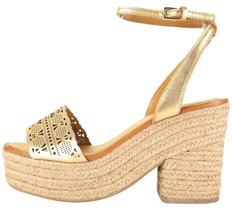 Tory with Burch Gold Leather Ankle Wrap Platform with Tory Braided Jute Heel Sandals 5abdf4