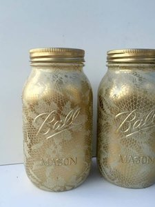 6 Hand Painted Ivory And Gold Lace Overlay Quart Size Mason Jars