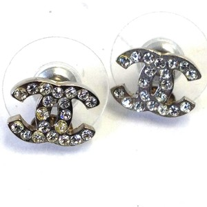 Chanel Chanel #7242R CC Clear crystals mini on Silver hardware pierced stud earrings