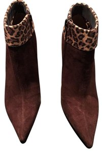 Luichiny Suede Ankle Stiletto Brown/Leopard Print Boots
