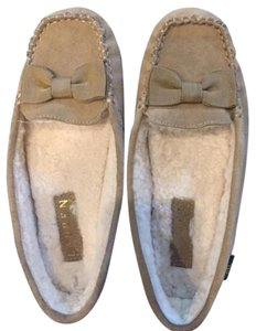 Ralph Lauren Driver-style Sole Comfy Moccasin Suede Shearling Lining tan Flats