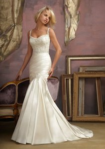 Mori Lee Candlelight/Silver Accent Satin 1857 Wedding Dress Size 4 (S)