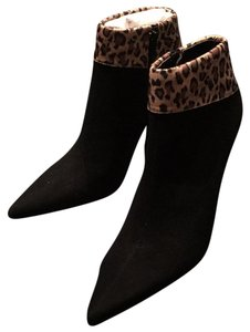 Luichiny Suede Leopard Trim Stiletto Black/Leopard Boots