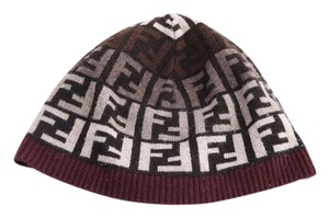 Fendi * Women's Brown Logo Knit Beanie Hat