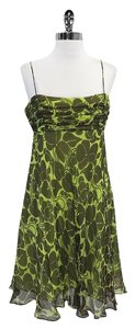 MILLY short dress Lime Green Brown Floral Silk Spaghetti Strap on Tradesy