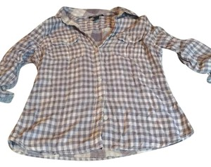 Lucky Brand Button Down Shirt Gray/purple and white checked