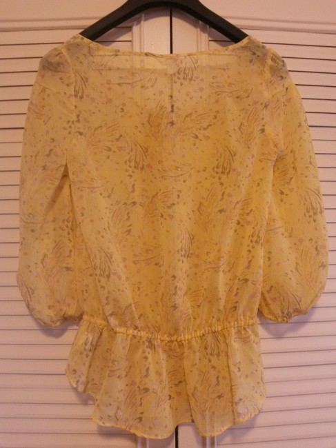 Candie's Floral Sheer Top Yellow