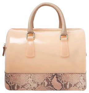 Furla Satchel in Pink & Taupe with snakeskin leather bottom