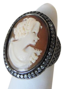 AMEDEO Amedeo Hematite-Tone Crystal Cameo Ring size 9