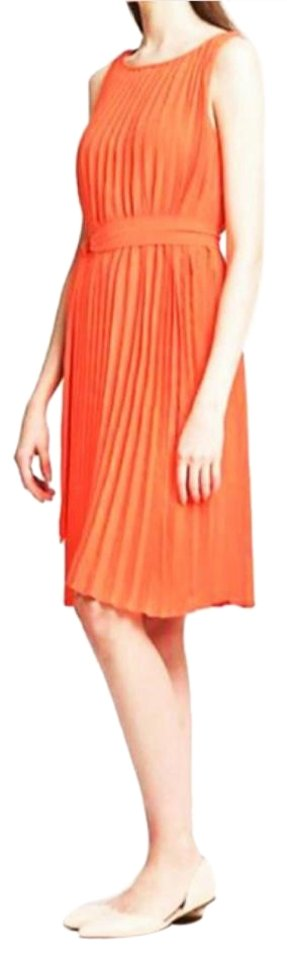 0535a8d9c51 Banana Republic Orange Pleated Trapeze Knee Length Formal Dress Size ...