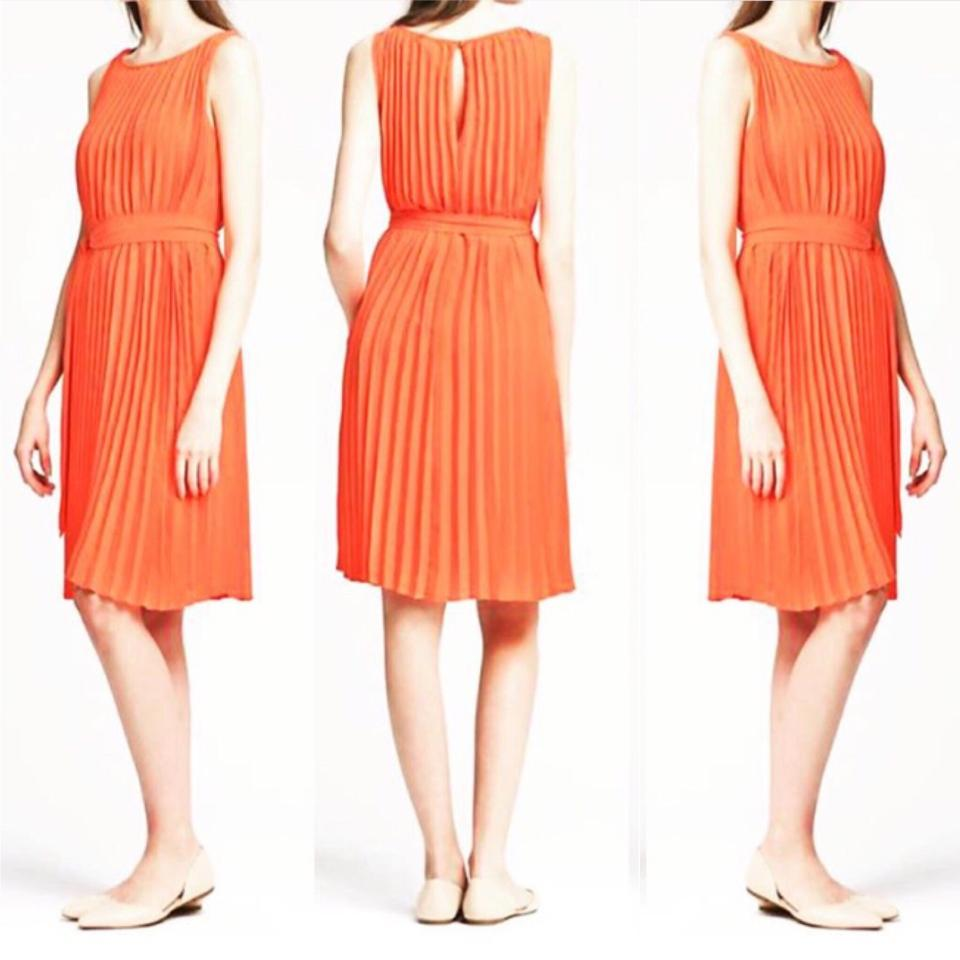 4fafeb84ecd Banana Republic Orange Pleated Trapeze Knee Length Formal Dress Size 8 (M)  - Tradesy