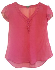 Lily Rose Sheer V-neck Top Dark Pink