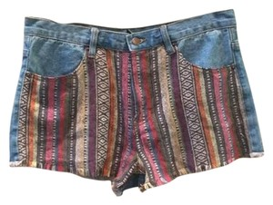 Forever 21 Tribal Denim Festival Color Highwaisted Shorts denim, rainbow