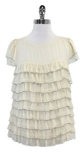 MILLY Cream Silk Tiered Top