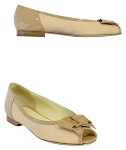 Bruno Magli Beige Patent Leather Peep Toe Flats